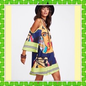 """COMING SOON "" Mixed Print Kimono Sleeve Dress"